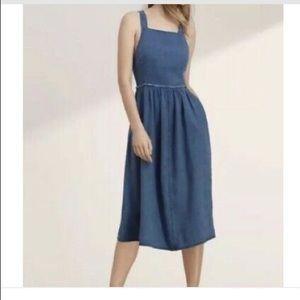 Wilfred denim dress cross back with linen size 6